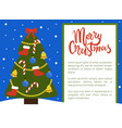 merry christmas poster with tree decorated by toys vector image vector image