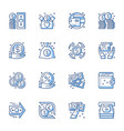 money banking service line icons vector image