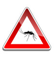 mosquito warning sign vector image vector image