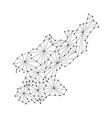 north korea map of polygonal mosaic lines network vector image vector image