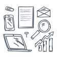 office pin and paperclip mobile phone set vector image vector image