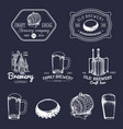 old brewery logos set kraft beer retro signs vector image vector image