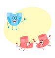 pair of funny baby booty sock characters playing vector image vector image