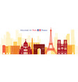 paris france landmarks skyline shape and vector image