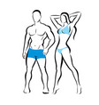 perfect body man and woman silhouette fitness vector image