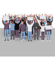 protesting people with hands up public protest vector image vector image