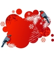 Red winter banner with bullfinches vector image