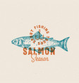salmon fishing season abstract sign vector image vector image