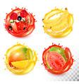 set fruit juice splash strawberryblueberry vector image vector image