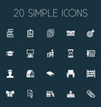 set of simple school icons vector image vector image