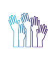 set several arms hands gesture on gradient color vector image vector image