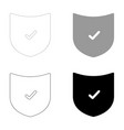 shield the black and grey color set icon