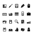 Silhouette Office tools Icons vector image vector image