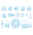 table etiquette organizations icons flat vector image vector image