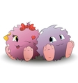 two cute cartoon monster back to back vector image vector image
