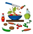 Vegetarian vegetable salad cooking process vector image vector image