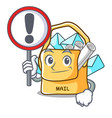 with sign bag sack fill in cartoon mail vector image