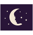 womans face against background moon vector image vector image