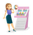 young caucasian white woman buying lipstick vector image vector image