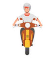 young smiling guy wearing helmet riding at scooter vector image