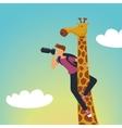 Safari Photographer with a giraffe vector image
