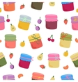 Seamless pattern with home-made jams and fruits vector image