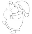 a coloring bookpage a pig wearing a christmas vector image