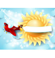 airplane banner and sun vector image