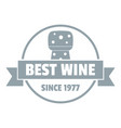 best wine logo simple gray style vector image vector image