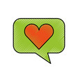 bubble speech love heart app web icon vector image
