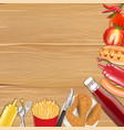 chicken french fries sausage tomato pepper sauce vector image