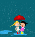 children under an umbrella in the rain vector image