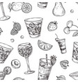 cocktails pattern sketch drinks and fruits vector image vector image