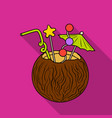 coconut cocktail icon in flate style isolated on vector image vector image