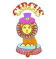 colored line art drawing of circus theme - lion in vector image vector image