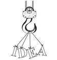 construction crane hook and word idea vector image
