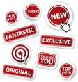 cool set of red stickers vector image vector image