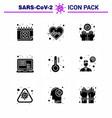 coronavirus awareness icons 9 solid glyph black vector image vector image