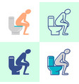 diarrhea concept icon set in flat and line style vector image vector image