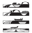 Different types of roads with vehicles vector image vector image