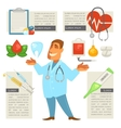 Doctor character man with Medical Icons Set vector image