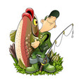 fisherman with fish and rod vector image