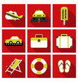 flat icons set with long shadow effect of vector image vector image