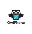 fun mascot logo icon owl and phone merged vector image vector image