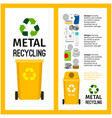 garbage yellow container with metal vector image vector image