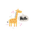 giraffe and lettering text vector image