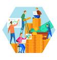 gold coin money cartoon people team brainstorming vector image