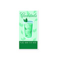 green cocktail with ice and mint banner summer vector image