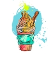 Hand drawn abstract textured ice cream card vector image