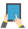 Hand touching blank screen of tablet vector image